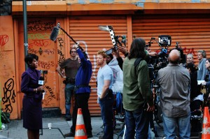 Cheryl filming scene on location in Alphabet City